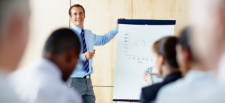 Man giving training presentation