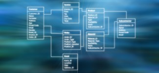 Database Table with modern abstract background
